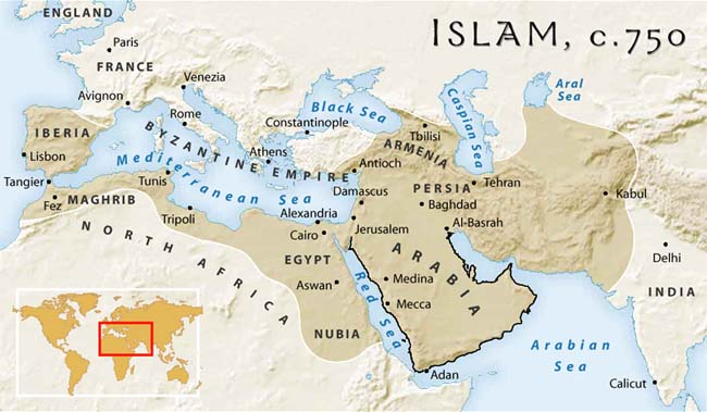 How do you look art of the islamic world map showing the spread of islam c 750 from the islam project gumiabroncs Choice Image