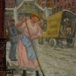 Maid Cutting Ice
