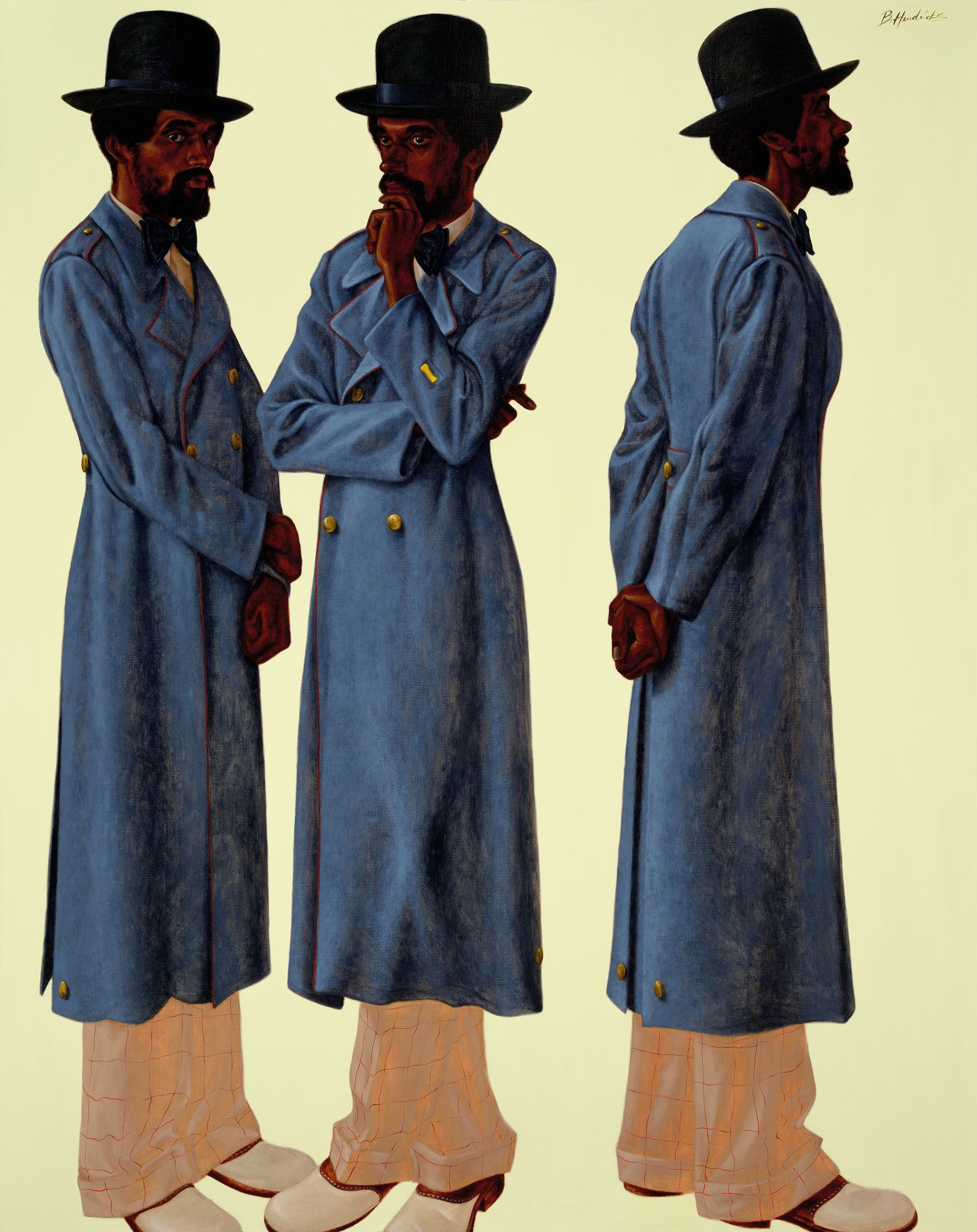<p>Barkley L. Hendricks, <i>Bahsir (Robert Gowens)</i>. Oil and acrylic on canvas, 83 ½ x 66. Collection of the Nasher Museum of Art at Duke University.</p>