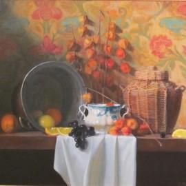 Straw Basket and Chinese Lantern