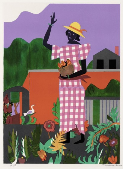<p>Romare Bearden, <i>In the Garden</i> from <i>American Portfolio</i>. Lithograph on paper, 28 3/4 x 21 1/4 inches. Collection of the Nasher Museum of Art at Duke University.</p>
